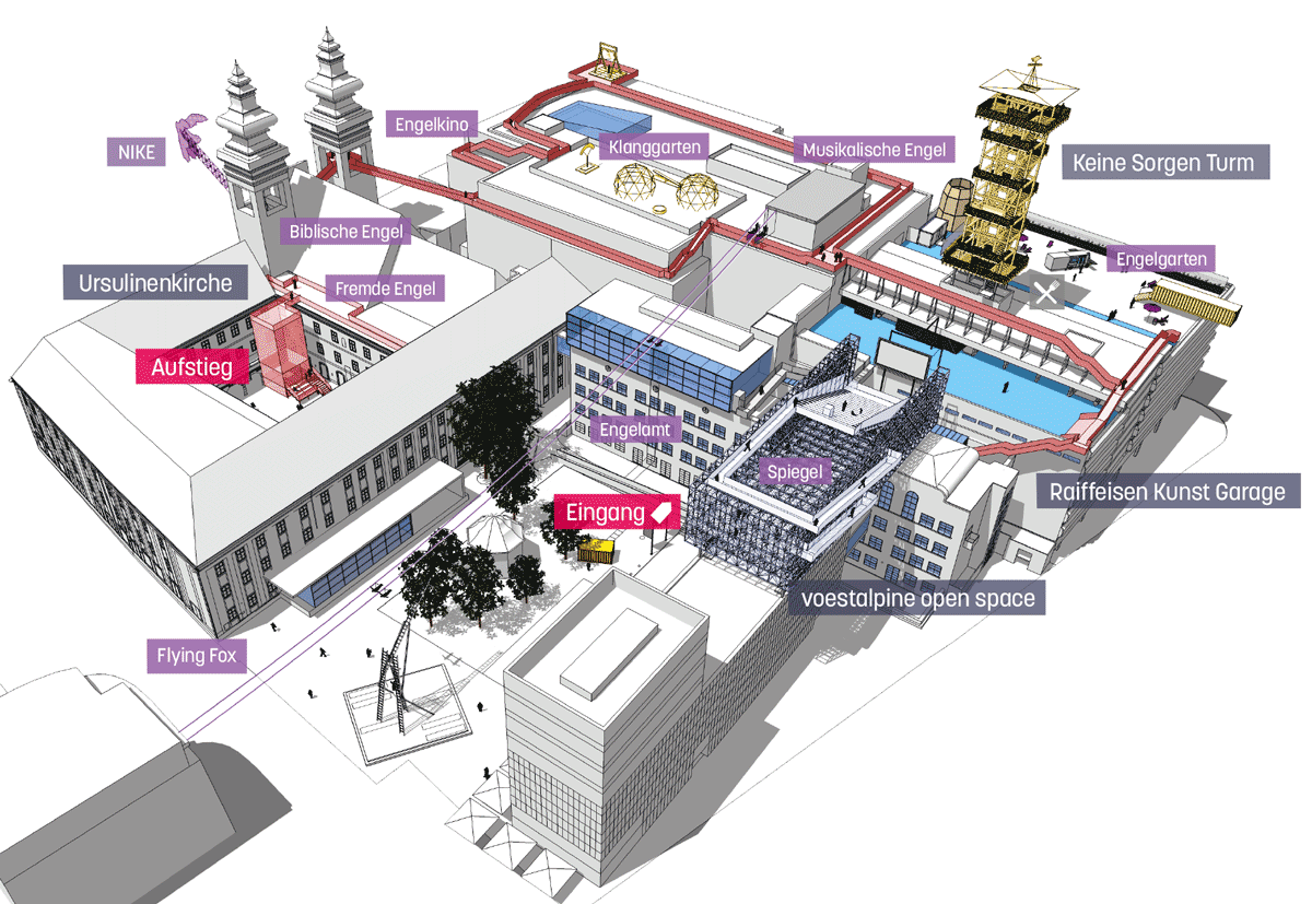 Plan des Höhenrausch 2016 über den Dächern von Linz.